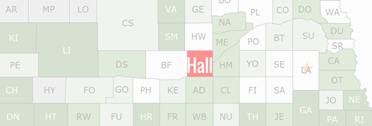 Hall County Map